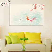 Beautiful Goldfish Landscape Traditional Chinese Unframed Canvas Painting Wall Art Picture for Living Room Home Decor