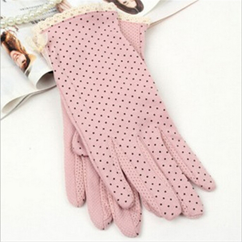 1Pair Summer Cotton Short Gloves Design Sun-shading Sunscreen Oversleeps Slip-resistant Gloves Female High Quality  Pink