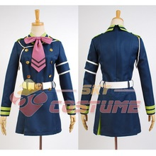 Anime Seraph of the End Shinoa Hiragi Uniform Women Girls Dress Gloves Full Set Halloween Party Cosplay Costume