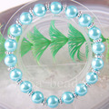 "Free Shipping New without tags Fashion Jewelry Zinc Alloy Sky blue 8MM Pearl Beads Bracelet Stretch 7.5"" 1Pcs RH1251"