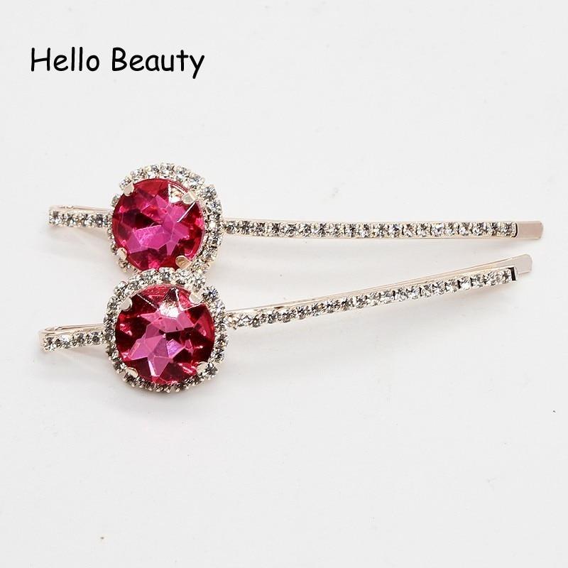 1 par koreansk mote nytt hår tilbehør rosa krystall hår barrette - Mote smykker - Bilde 3