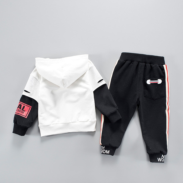 2-Piece Sport Style Long Sleeve Hoodie with Black Striped Long Pants for Baby Boy and Toddler