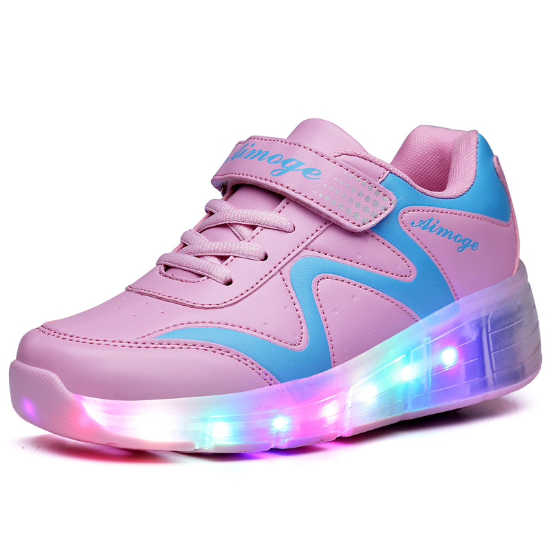 New Children Roller Skate Shoes Boys Girls Automatic Jazzy LED Lighted Flashing Roller Skates Kids Sneakers With One Wheels 2018 new boys girls sneakers with wheels kids roller skate shoes children brand fashion wheels shoes
