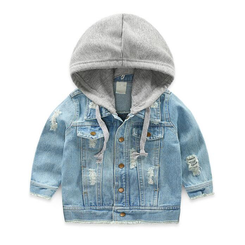 LILIGIRL Vintage Girls Casual Jeans Jacket for Baby Boys Hooded Denim Clothes Coats Outwear Kids Autumn Tops Coat Jackets white jeans jacket for girls denim coat spring autumn kids ripped jeans coat for boys denim coat children jackets and coat
