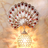 Colorful peacock art deco wall lights sconce for living room bedroom hotel room crystal lamp Home vintage project wall lamps