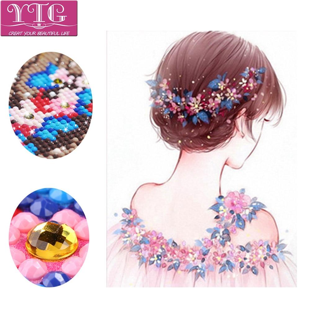 Flower,Girl,Diamond Embroidery,Diamond Painting,Full,Cross Stitch,5D,Special-Irregular,Crafts,Needlework,DIY,Home Decor,Art,Gift