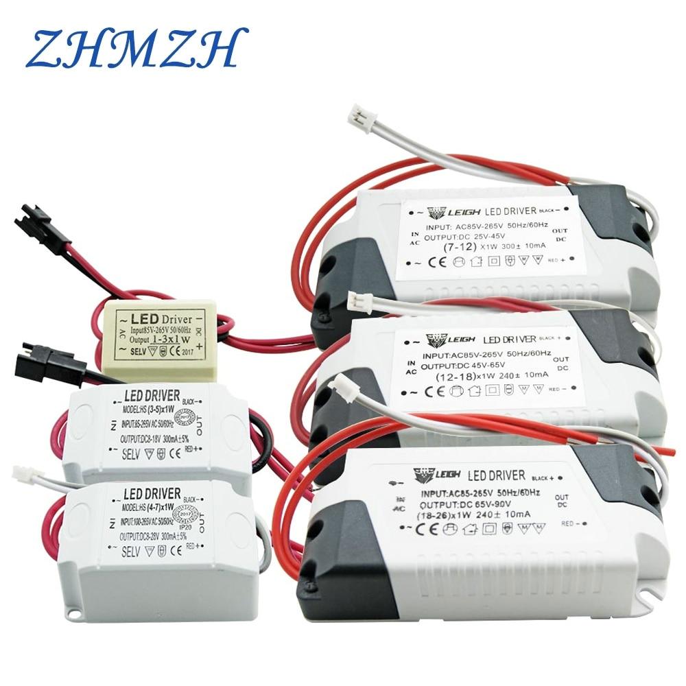 Driver de corrente constante led 220v, 1-3w 4-7w 7-12w fonte de alimentação, 18w 26-36w 37-50w saída 300ma 240ma externa para led downlight
