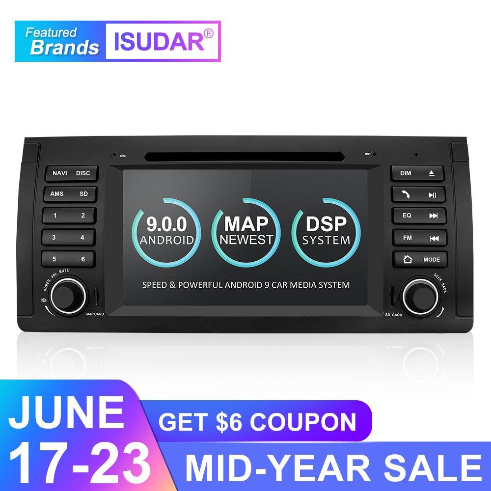 Lecteur multimédia de voiture Isudar Android 9 GPS un lecteur DVD Din pour BMW E39 5 Series M5 2 GB RAM 16 GB ROM Radio Wifi lien miroir