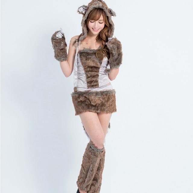Hermosa furry animal disfraces de Halloween para las mujeres sexy