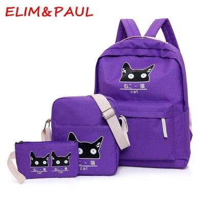 ELIM PAUL Fashion Backpack Shoulder Bag Women Girls Canvas Backpacks Pink Purple Red Blue Green Cute