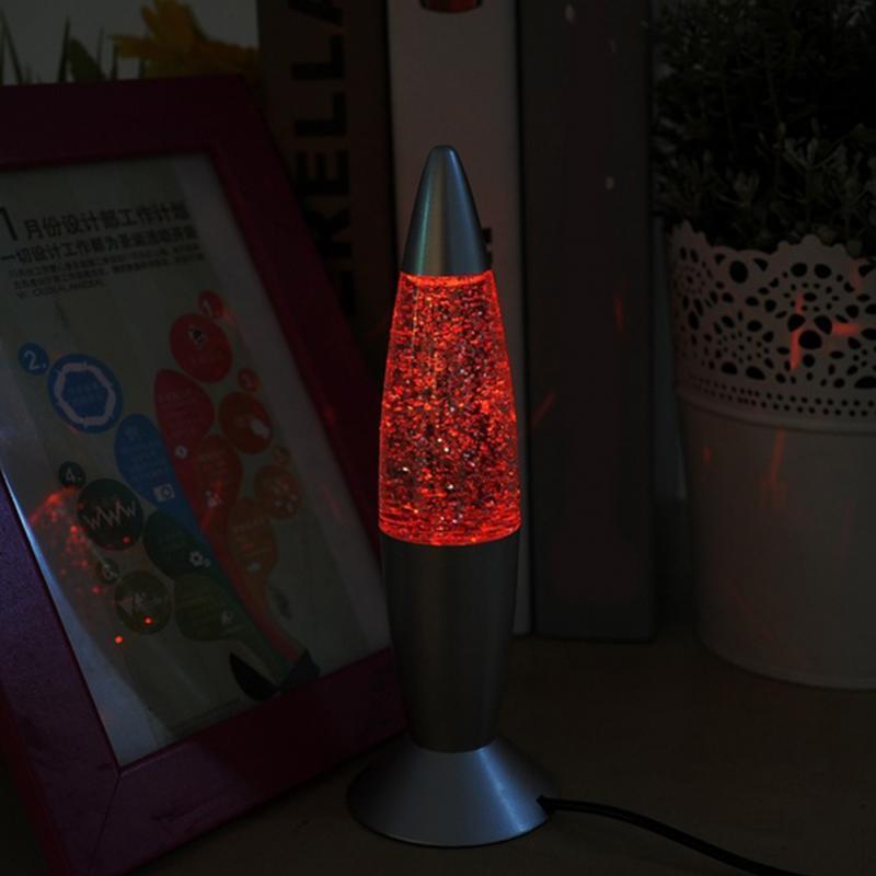 RGB-LED-Glitzer-Nachtlicht Fugift Lavalampe mit 3D-Raketen-Farbwechsel Geschenk