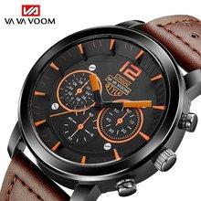 VAVA VOOM men's sports watch waterproof men quartz watch top brand luxury leather strap calendar clock  rolex_watch блуза voom