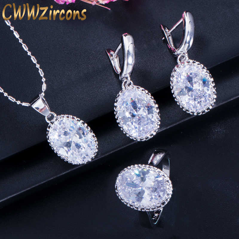 CWWZircons Crown Forma Redonda Oval Cut CZ Colar Anel Brincos Para As Mulheres Moda 925 Sterling Silver Jewelry Sets T270