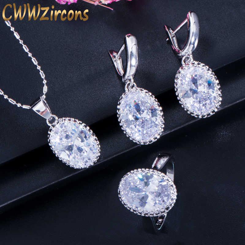 CWWZircons Crown Forma Redonda Oval Cut CZ Colar Anel Brincos Para As Mulheres Moda 925 Sterling Silver Jewelry Sets T270