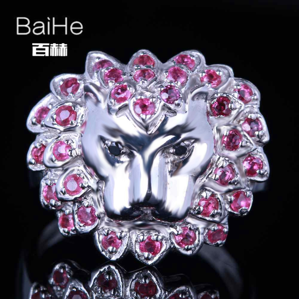 BAIHE Sterling Silver 925 0.8ct Certified H/SI3 Round Genuine Rubies & Black Diamonds En ...