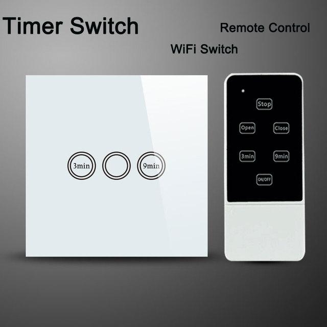 Estándar de la ue interruptor de tiempo, interruptor de pared, interruptor de casa inteligente, panel de cristal táctil remoto inalámbrico interruptor temporizador 220 v, compatibles broadlink