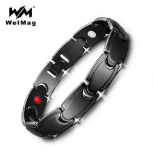WelMag Charm Black Stainless Steel Magnetic Bracelets & Bangles for Men Hologram Therapy Wristband Germanium FIR Health Bracelet stainless steel hologram bracelet germanium balance energy care magnetic power health bracelets bangles