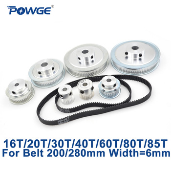 Juego de correa de polea síncrona POWGE GT2/2GT 16 T: 60T 20 T: 60T 30 T: 60T 40 T: 60T relación de velocidad de reducción Kit de polea de correa dentada 200/280mm