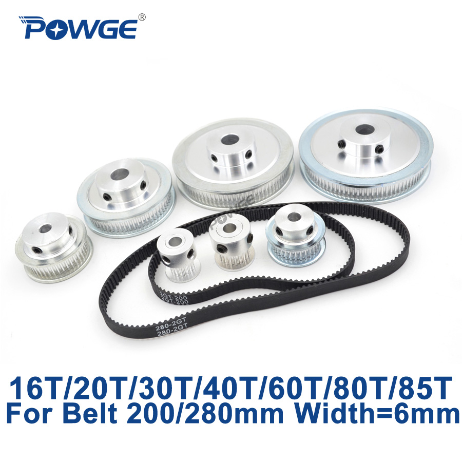 POWGE GT2/2GT Synchronous Pulley Belt Set 16T:60T 20T:60T 30T:60T 40T:60T Reduction Speed Ratio Timing Belt Pulley Kit 200/280mm powge 8pcs 20 teeth gt2 timing pulley bore 5mm 6mm 6 35mm 8mm 5meters width 6mm gt2 synchronous 2gt belt 2gt 20teeth 20t