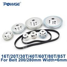 цена на POWGE GT2/2GT Synchronous Pulley Belt Set 16T:60T 20T:60T 30T:60T 40T:60T Reduction Speed Ratio Timing Belt Pulley Kit 200/280mm