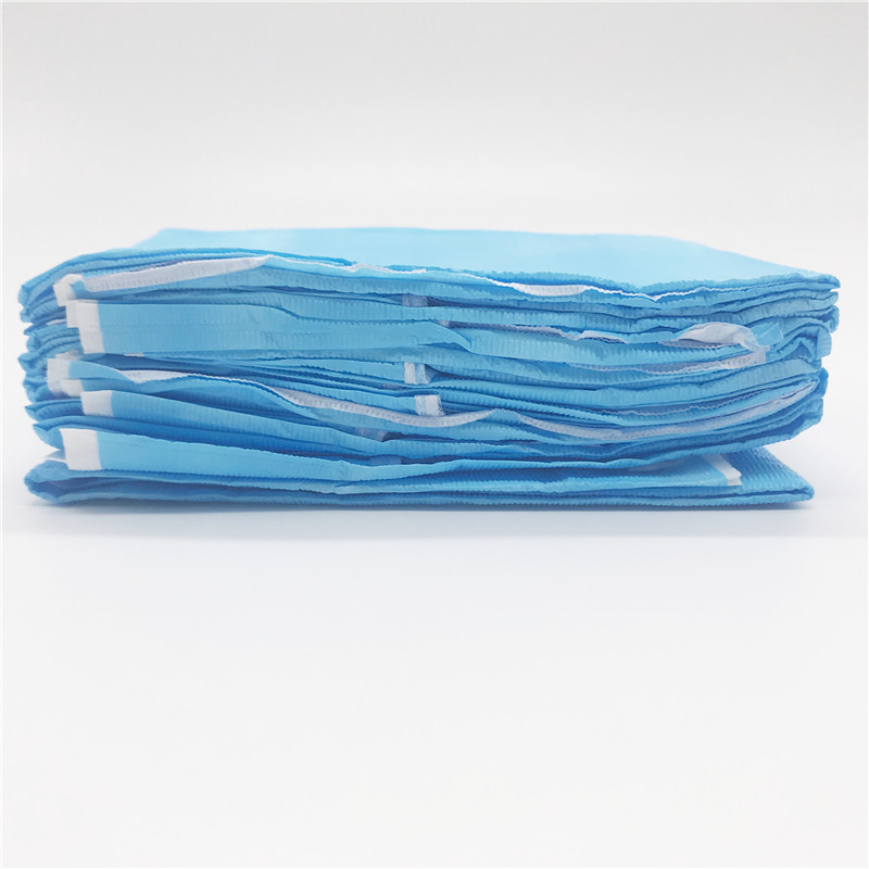 Dentistry Disposable Neckerchief Medical Shop Towel Lacing Bibs Pad Scarf Blue