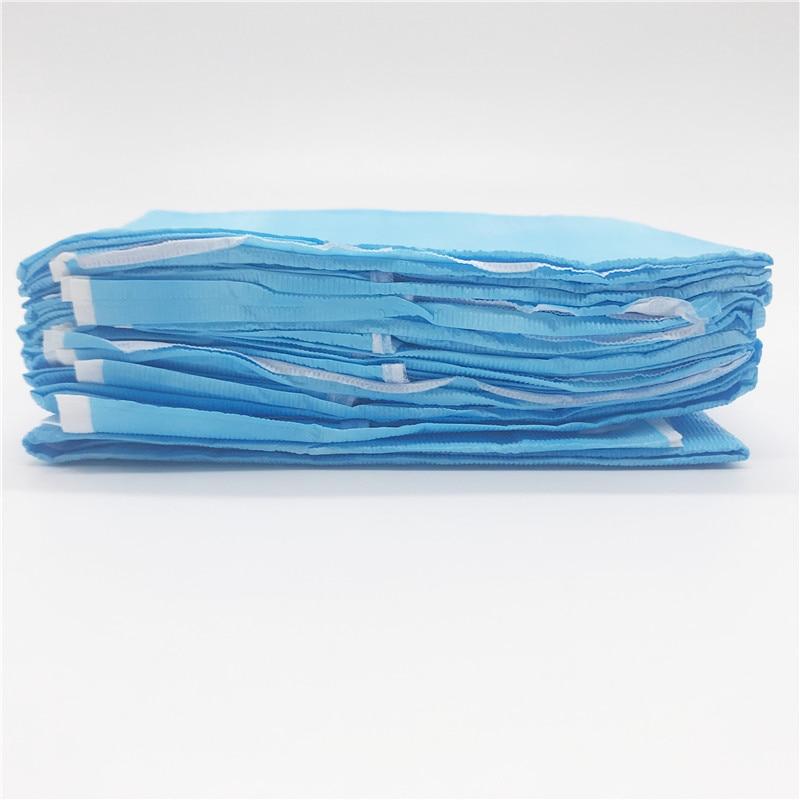 Dentistry Disposable Neckerchief Medical Shop Towel Lacing Bibs Pad Scarf Blue
