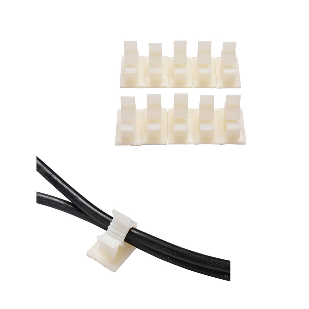 цена на 10PCS White Adhesive Cable Clips Clamps Car Wire Tie Mount Drop Wire Holder for Car/Office/Home 10mm