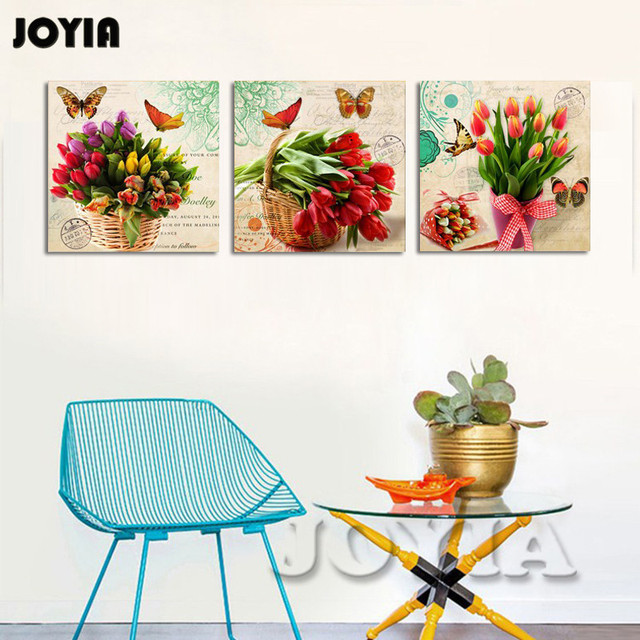 Bunch floral canvas prints tulips painting vintage rural wall art home bedroom decor pieces 3 large