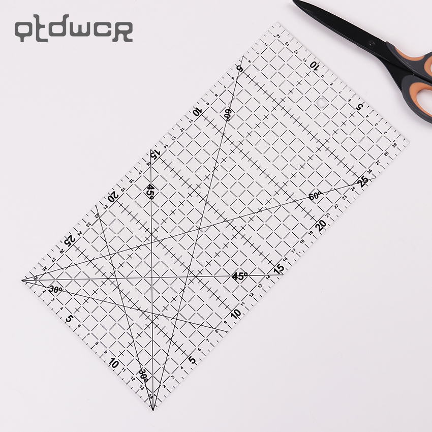 1PC 15x30cm Multifunction Transparent Sewing Patchwork Ruler DIY Quilting Patchwork Drawing DIY Stationery Ruler Office Supplie 1 pc 30 15 cm patchwork ruler quilting tools high grade acrylic material transparent ruler scale school supplie