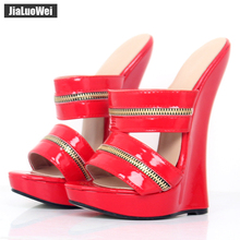 Women Sexy High Wedges Heels Shoes Platform Patent Leather Ankle Strap Sandals Fashion Summer Pumps Ladies Shoes Pluse szie sorbern khaki women sandals rope high heels platform shoes summer style ladies work shoes wedges sandals ankle strap heels