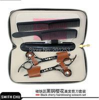 5.5 polegada preto tesouras do cabelo para barbeiros corte & tesoura diluindo terno padrão sakura smith chu jp440c, 1 set/lote lzs0101