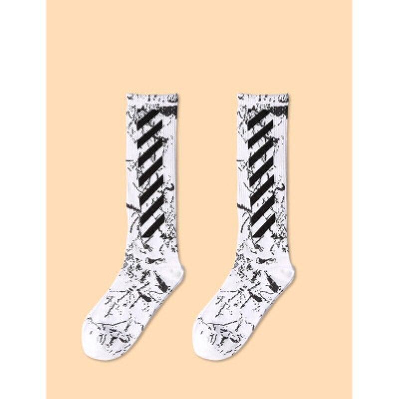 Korea Style Hip Hop Street Skateboard Cool Socks Autumn Winter Cotton Breathable Soft Diagonal Stripes Long Socks For Couples