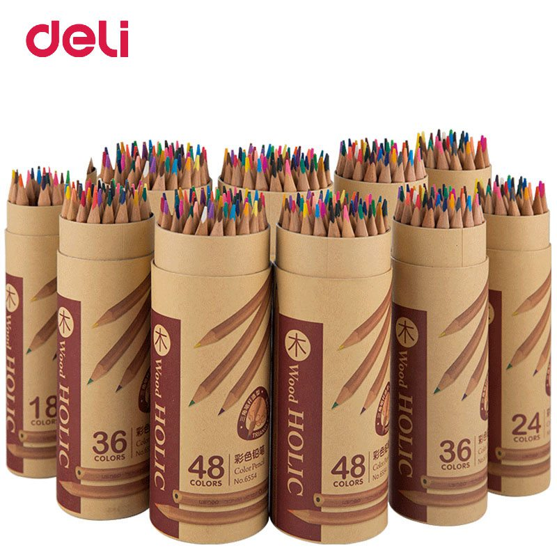 Deli Wooden Colored Pencils Set Soluble Pencil For Kids' Drawing Pencils Sketch Artists Painting Supplies 12/18/24/36 Colors/Box deli wooden colored pencils set soluble pencil for kids drawing pencils sketch artists painting supplies 12 18 24 36 colors box