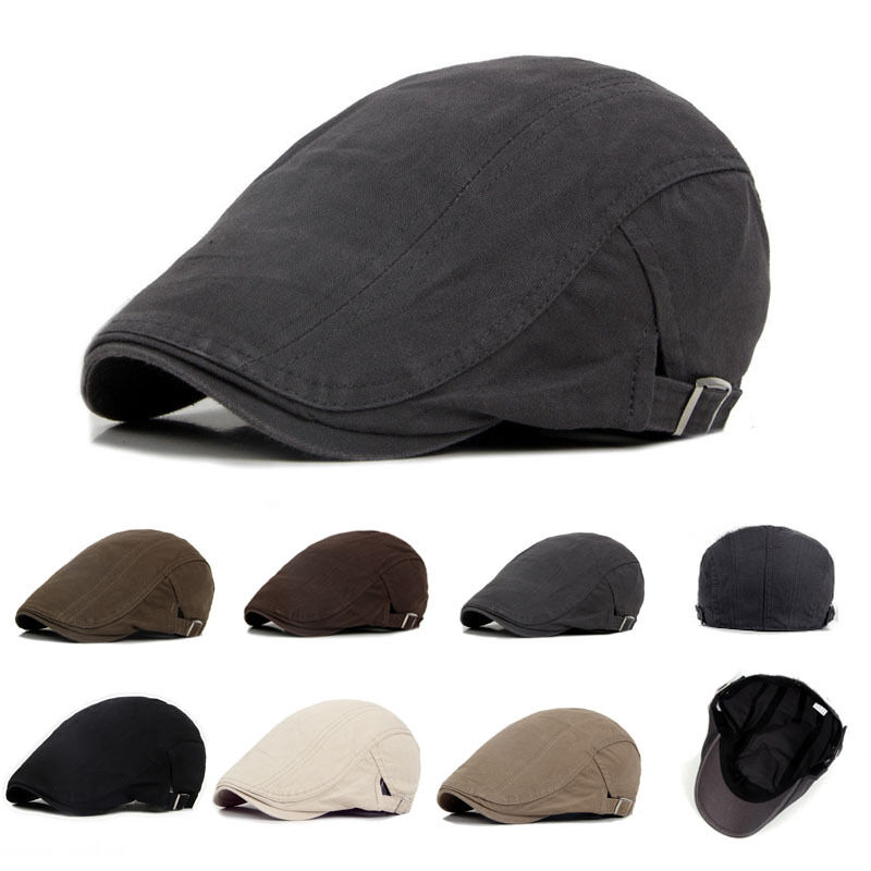 3bb914f0e New Men's Hat Berets Cap Golf Driving Sun Flat Cap Fashion Cotton Berets  Caps for Men Casual Peaked ...