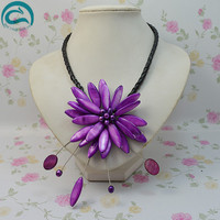 Unique Pearls jewellery Store Perfect Real Pearl Shell Flower Leather Necklace Wedding Birthday Chirstmas Gift For Women
