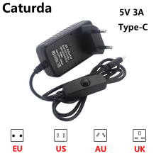 Raspberry Pi 4 Power Supply 5V 3A Type-C Power Adapter with ON/OFF Switch EU US AU UK USB-C Charger for Raspberry Pi 4 Model B