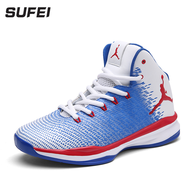 Sufei Basketball Shoes Outdoor Men High Top Sport Sneakers Ultra Cushioning Athletic Boots Kids Wearable Training Shoes