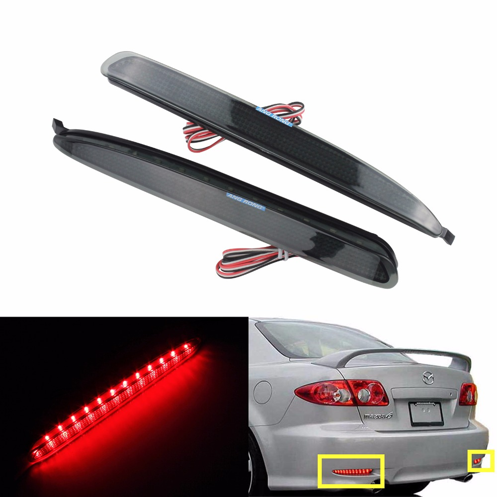 ANGRONG 2x Black Smoked Lens Bumper Reflector <font><b>LED</b></font> Stop Brake <font><b>Light</b></font> For GG Mazda6 Atenza <font><b>Mazda</b></font> <font><b>6</b></font>(CA171) image