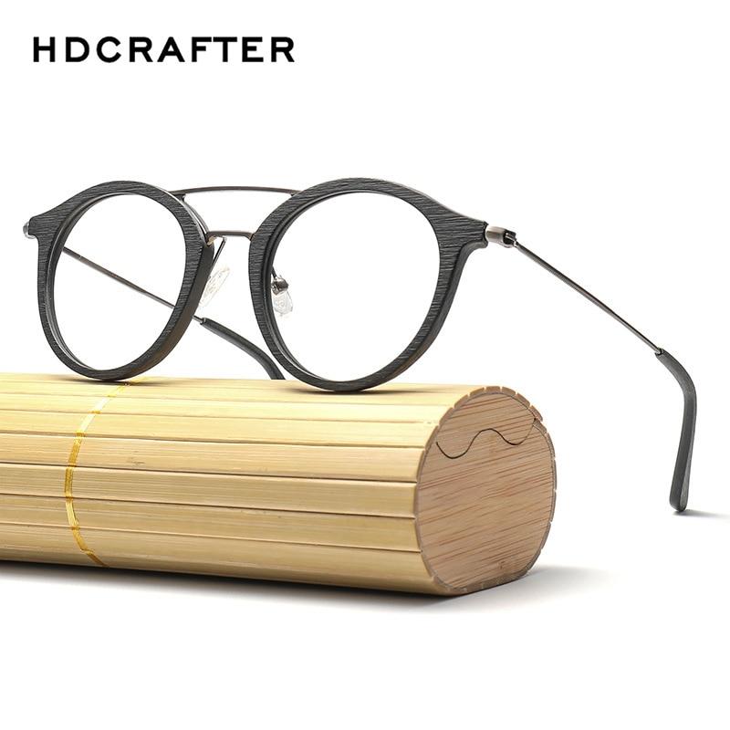 287e3355588d4 HDCRAFTER rodada armações de óculos de olho para as mulheres Grão de Madeira  Das Mulheres Dos
