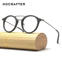 HDCRAFTER round eye glasses frames for women Wood Grain Optical Glasses Frame with clear Lens Men Women Reading Glasses