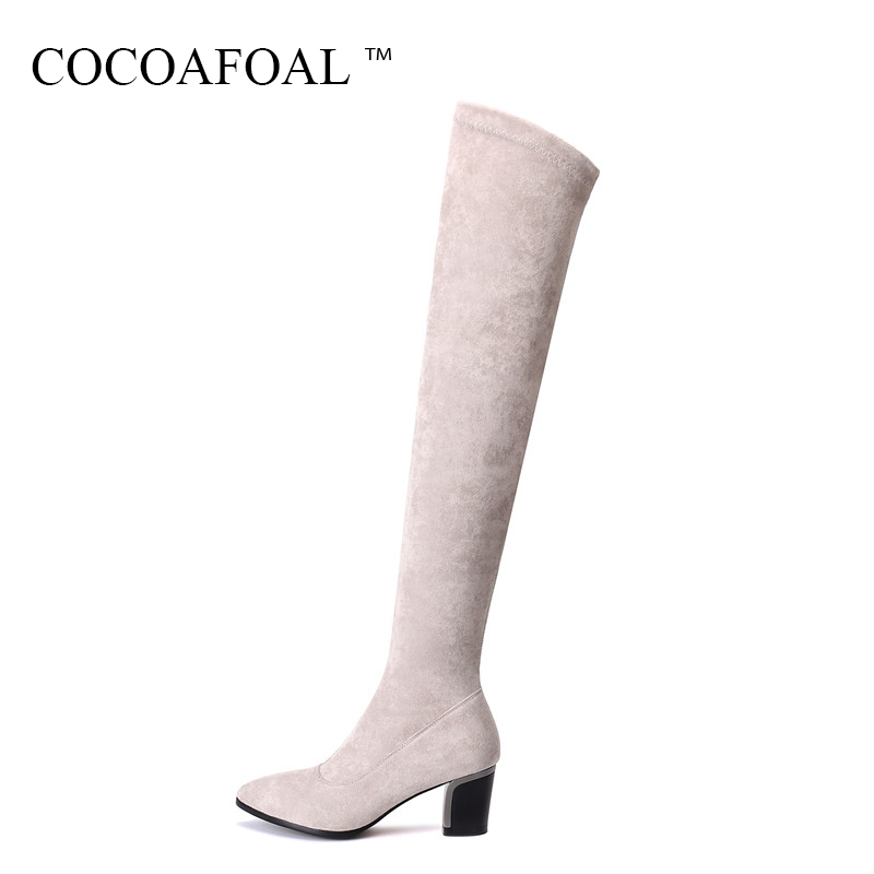 COCOAFOAL Sexy Winter Black Genuine Leather Women Shoes Plus Size 33 43 Thigh High Boots Chelsea High Heeled Over The Knee Boots cocoafoal women sexy black high heeled shoes genuine leather thigh high boots plus size 33 41 winter chelsea over the knee boots