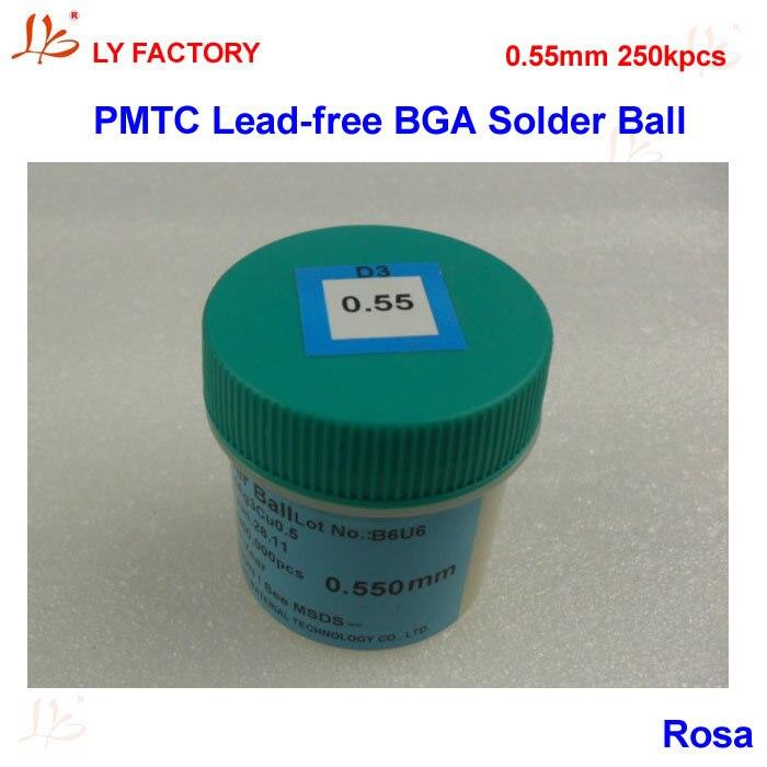 PMTC Lead Free BGA Solder Ball 0.55 mm 250Kpcs/Bottle For Chips Reballing pmtc 250k 0 65mm leaded free bga solder ball for bga repair bga reballing kit bga chip reballing