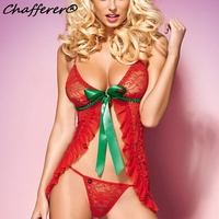 Latest Christmas Cosplay Costume Pijama Red Sexy Lingerie Hot Lace Transparent Sexy Christmas Lingerie Fancy Underwear
