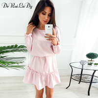 DeRuiLaDy Women 2017 Autumn Winter Womens Long Sleeve Casual Dress Red Cute Loose Fashion Lace Up
