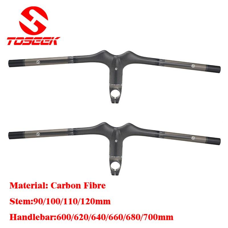 Nouveau guidon de vélo De Carbone VTT vélo de route guidon Intégré avec Tige 3 k mat 600/620/640/660/680/700mm barre de main de pièces de vélo