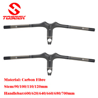 Carbon Fiber Mountain Bike Handlebar MTB Integrated With Stem 3k Matte 600 620 640 660 680