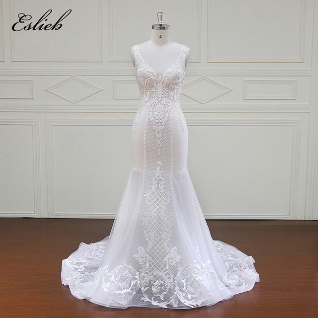 Eslieb Romantic Mermaid Wedding Dress Vintage Cap Sleeve Lace ...