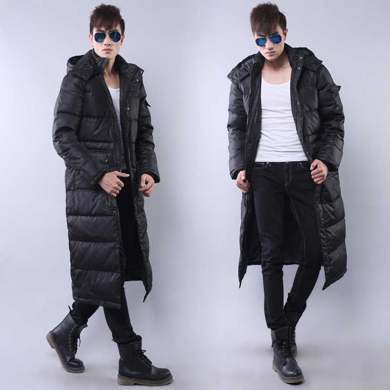Plus Size Winter Cotton Padded Coat Men Over Knee Hooded Thick Quilted Parka Male Overcoat Size