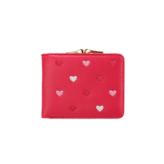 Romantic Hearts Embroidery Leather Women's Wallet
