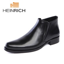 HEINRICH New Mens Genuine Leather Boots Fashion Slip On Pointed Toe Ankle Shoes Men Leisure Business Office Tenis